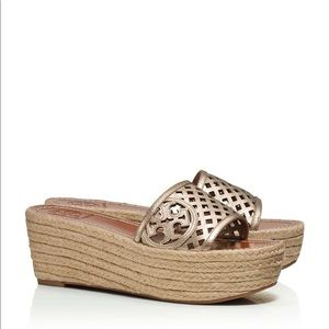 Tory Burch Thatchet Perforated Espadrille Sandals